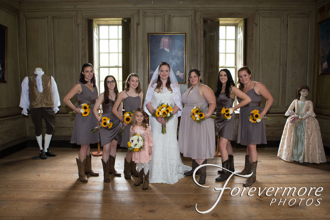 Bridal party in the historic Keith House in Horsham PA. Located in Graeme Park.