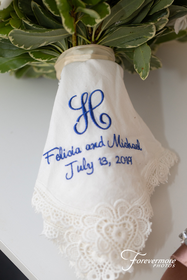 wedding detail embroidered handkerchief
